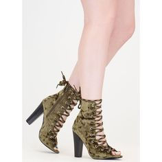 Camo Cool Chunky Crushed Velvet Booties ($34) ❤ liked on Polyvore featuring shoes, boots, ankle booties, ankle boots, green, high heel ankle boots, lace up booties, green ankle boots, faux suede lace-up booties and open toe lace up booties