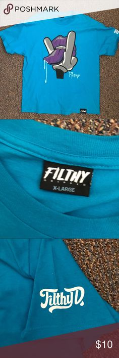 """Filthy T-Shirt EUC teal, purple, and grey Filthy t-shirt. """"Filthy D"""" on right arm sleeve. Size XL. Filthy Shirts Tees - Short Sleeve"""