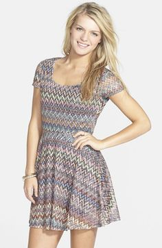 Mimi Chica Print Lace Skater Dress (Juniors) available at #Nordstrom