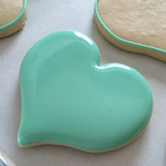 Heart-shaped Frosted Sugar Cookie ~ Aqua