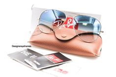 Ray-Ban RB3025 001/3F Arista Gold Light Blue Grad Aviators Sunglasses NWT AUTH #RayBan #Aviator