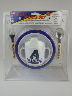 AZ Diamondbacks Five Piece Dinner Set For Toddlers Baby Plate Sippy Cup New (E) #LilSportSet #ArizonaDiamondbacks