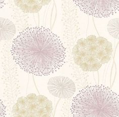 Gardenia (60403) - Harlequin Wallpapers - Large scale seed heads in a subtle design, in soft elegant colour combinations. Shown here in the soft purple and green on off-white. Available in other colours. Please request sample for true colour match. Wide width.