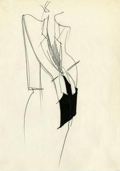 Fondazione Gianfranco Ferré / Collezioni / Donna / Prêt-à-Porter / Line Drawing, Drawing Sketches, Fashion Sketches, Fashion Drawings, Fashion Illustrations, Fashion Design Portfolio, Ferrat, Gianfranco Ferre, Beauty Portrait