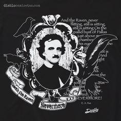 Camiseta para los amantes de la literatura gótica y de terror. En la camiseta aparece la cara del ilustre escritor E. A. Poe en un camafeo victoriano, rodeado de cuervos y con el texto de su poema The Raven (El Cuervo). www.diablocamisetas.com