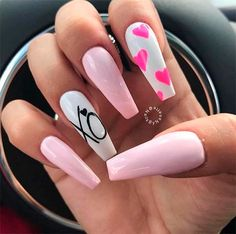 Valentine Nail Art, Nails For Valentines Day, Heart Nails, Nagel Gel, Super Nails, Best Acrylic Nails, Gorgeous Nails, Cute Red Nails, Trendy Nails