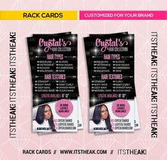 Premade Rack Card Design – Customized For Your Brand – Hair Extensions Hair Bundles Hair Brand Hair Collection Hair Extension Hair Bundles Hair Extensions Prices, Rack Card, Business Hairstyles, Custom Website, Salon Ideas, Business Motivation, Business Names, Order Prints, Cool Websites