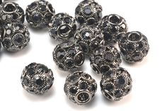 rhinestone beads,14mm round beads,crystal beads,black beads,gunmetal alloy beads,jewelry making beads,wholesale beads