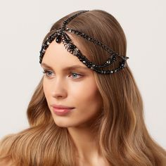 Black-Pearl-Chain-Headpiece-Jewelry