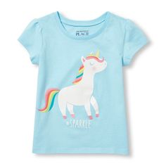 s Toddler Short Sleeve Glitter '#Sparkle' Unicorn Graphic Tee - Blue T-Shirt - The Children's Place