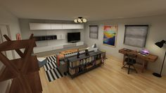 Designer Leslie Lofgren uses clean lines and a simple color palette to overhaul a blank-slate den.