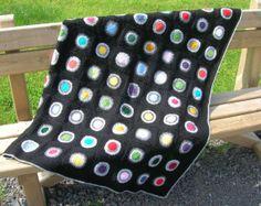 Manta círculos negra por Priscilasstore en Etsy, €105.00