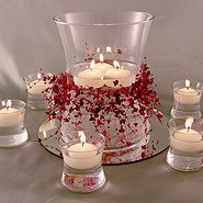 Cylinder Candle Centerpieces for Receptions | Hourglass & votives floating candle centerpiece