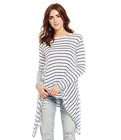 Chelsea and Violet StripePrint Sharkbite Knit Top #Dillards