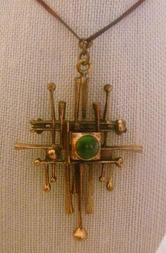 Vintage Handmade Modernist Brutalist Brass Copper Necklace Pendant w/ Stone