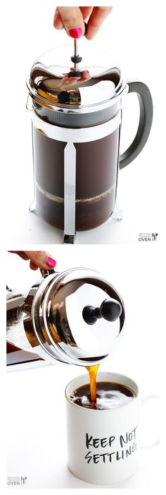 French Press Coffee -- learn how to make the perfect cup of French press with this step-by-step tutorial | gimmesomeoven.com #howto