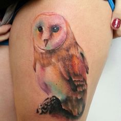 owl watercolor tattoo - would never have the guts to do this, but so beautiful!