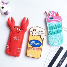 HOT! Korean Funny 3D Ice Cream Beer Phone Case Soft Silicone Rubber Case for Iphone 6 6s 6plus 6splus Cute Cartoon Back Cover