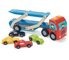 Biltransporter i tre med 4 biler fra Le Toy Van Wooden Toys, Vans, Vehicles, Bb, Image, Wooden Toy Plans, Wood Toys, Woodworking Toys, Van