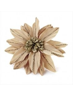LIGHT BROWN GLITTER LINED FLOWER HAIR CLIP - HAIR ACCESSORIES - Hair Flowers - Hair Flowers - Hair Accessories