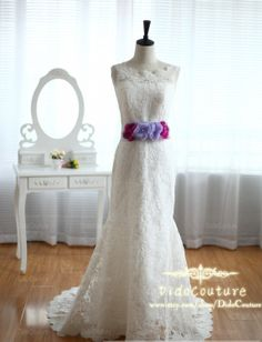 Custom Made French Lace Wedding Dress Gown Mermaid by DidoCouture, $329.00