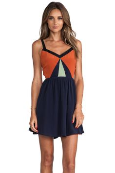 harlyn Blocked Strappy Dress in Cinnamon & Navy & Mint & Black from REVOLVEclothing