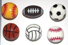 Sport Balls 6pc Handmade Decorative Bulletin Board Push Pin Thumb Tacks by CandCCraftSupplies on Etsy