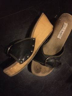 f9812f8aaaf4 Vtg 90s Steve Madden Chunky Black Slides Platform Sandals Sz8 Shoes Womans   fashion  clothing