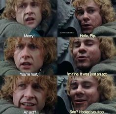 This scene always makes me sad. Because you realized that Merry really cares for Pippin and he's trying to protect him, trying to be strong for Pippin's sake. They both matured so much over the course of the movies but I see it most in Merry.