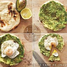 Looking for a healthy breakfast to eat before a work out or just something to start your day right with? Check out this recipe! ... Repost from @1minutesnacks Avo eggs breakfast pizza Here's what you'll need: 1. Greek or pocketless pita or any kind of flat bread 2. Lemon 3. Ripe avocado 4. Organic egg 5. Sea salt pepper chili flakes cumin cumin seed extra virgin olive oil Heres' what you do: Toast pita until crisp mash avocado and spread on pita drizzle with dash of lemon olive oil and…