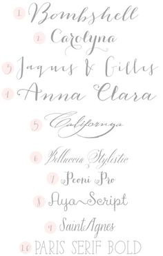 I love scripty fonts with a girly feel but that are also clear and easy to read