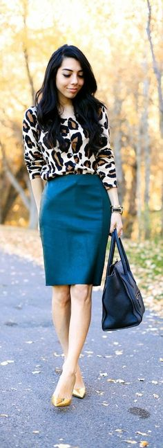 ♥Leopard Cardi with Green Paneled Skirt with Gold Pumps