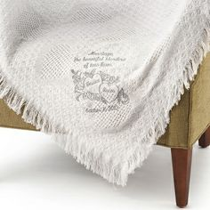Embroidered Blending of Lives Marriage Throw (Light Carbon) , Add a Monogram, Name or Initials