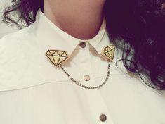 Broches para cuello de camisa: Diamantes amarillos