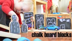 chalk board blocks - a fun DIY addition to block play. Block Center Preschool, Block Area, Block Play, Small World Play, Homemade Toys, Creative Play, Learning Centers, Childhood Education, Jouer