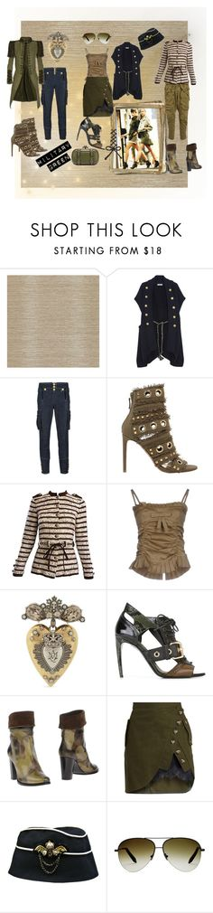 """Military Green"" by tb-66 ❤ liked on Polyvore featuring Zoffany, Pierre Balmain, Dsquared2, Alexandre Vauthier, Adolfo, RED Valentino, Alexander McQueen, Burberry, Alberto Gozzi and self-portrait"