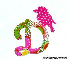 Cursive Letter And BirdFabric Iron On by OnceUponaDesign on Etsy, $3.15