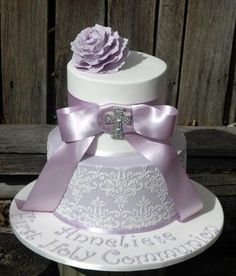 Lilac First Holy Communion Cake