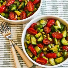 Cucumber, tomato, onion, avocado and balsamic vinegar salad - links to more tomato and cucumber salads at the end of the post!
