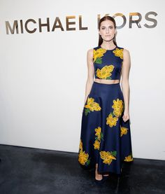 The Girls actress looked as sweet as can be in a whimsical, floral-printed set at Michael Kors.