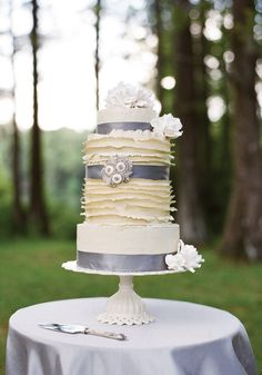 Silver Ribbon Southern Wedding Cake