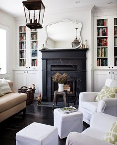 Donna Griffith via House and Home {white rustic vintage modern living room} by recent settlers, via Flickr