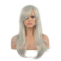 perucas sintéticas do partido de alta qualidade encaracolado da mulher cor cinza longa de 5026963 2017 por R$57,90