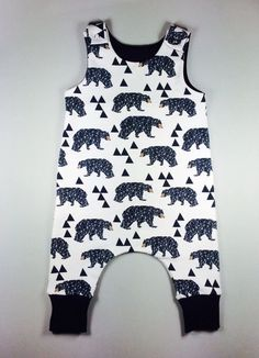 Harem style baby romper, hipster baby romper, organic baby clothes, baby overall, organic baby boy romper