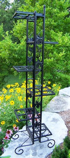Shop this oakland living wrought iron 6 level plant stand in black from our top selling Oakland Living planters. PatioLiving is your premier online showroom for patio accessories and high-end outdoor furniture. Black Plant Stand, Tall Plant Stands, Tall Plants, Outdoor Plants, Outdoor Gardens, Potted Plants, Outdoor Fun, Indoor Garden, Outdoor Ideas