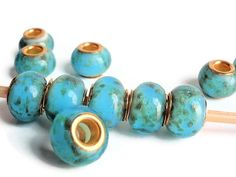 5 Beads, Handmade Lampwork European Style Beads, Jewelry making Supply, rondelle for European style bracelets