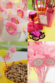 pink and yellow vintage circus inspired party for girls