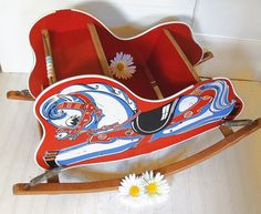 FREE Shipping - Vintage Bouncing Wooden Red Rocking Horse - $100.00