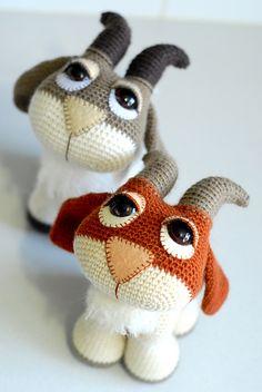 Ravelry: Hopscotch the Goat - Amigurumi pattern by Laura Pavy Animal Knitting Patterns, Stuffed Animal Patterns, Easy Crochet Patterns, Crochet Patterns Amigurumi, Crochet Dolls, Crochet Teddy, Crochet Bear, Cute Crochet, Crochet Animals