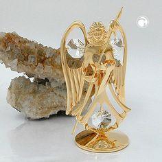 Engel mit Speer, mit Kristall-Glas, gold-plattiert